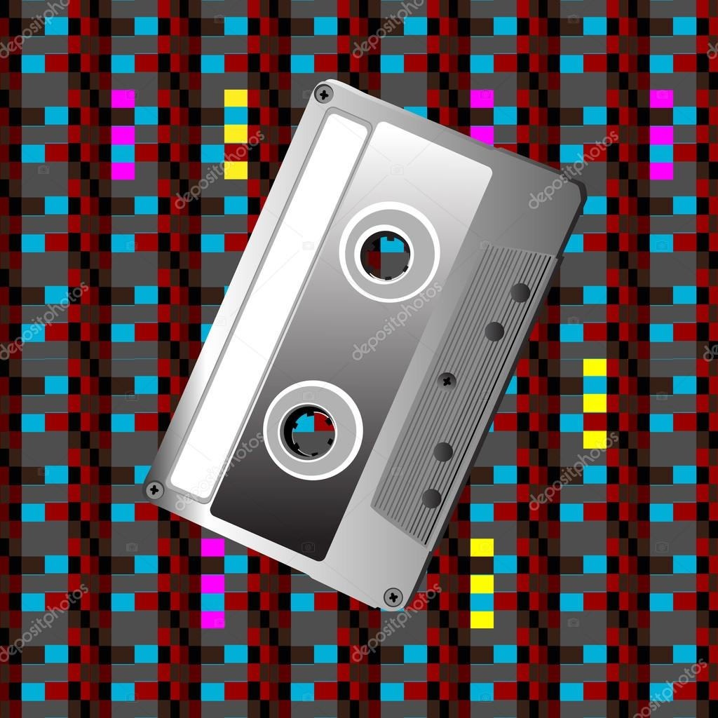 Illustration of a cassette over a pixel art pattern, hipster icon — Stock Photo #14251187