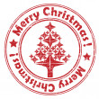 Merry christmas red tree stamp — Stockfoto