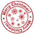 Merry christmas snowflakes stamp — Stockfoto