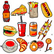 Stock Photo: Scarry fast food elements