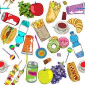 Fast-food gekleurde patroon — Stockfoto