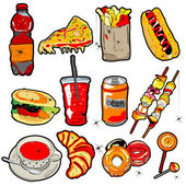 Scarry fast food elements — Stockfoto