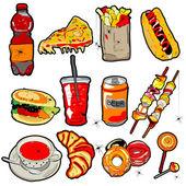 Scarry fast food öğeler — Stok fotoğraf