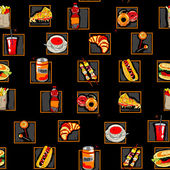 Scarry fast food pattern — Stockfoto