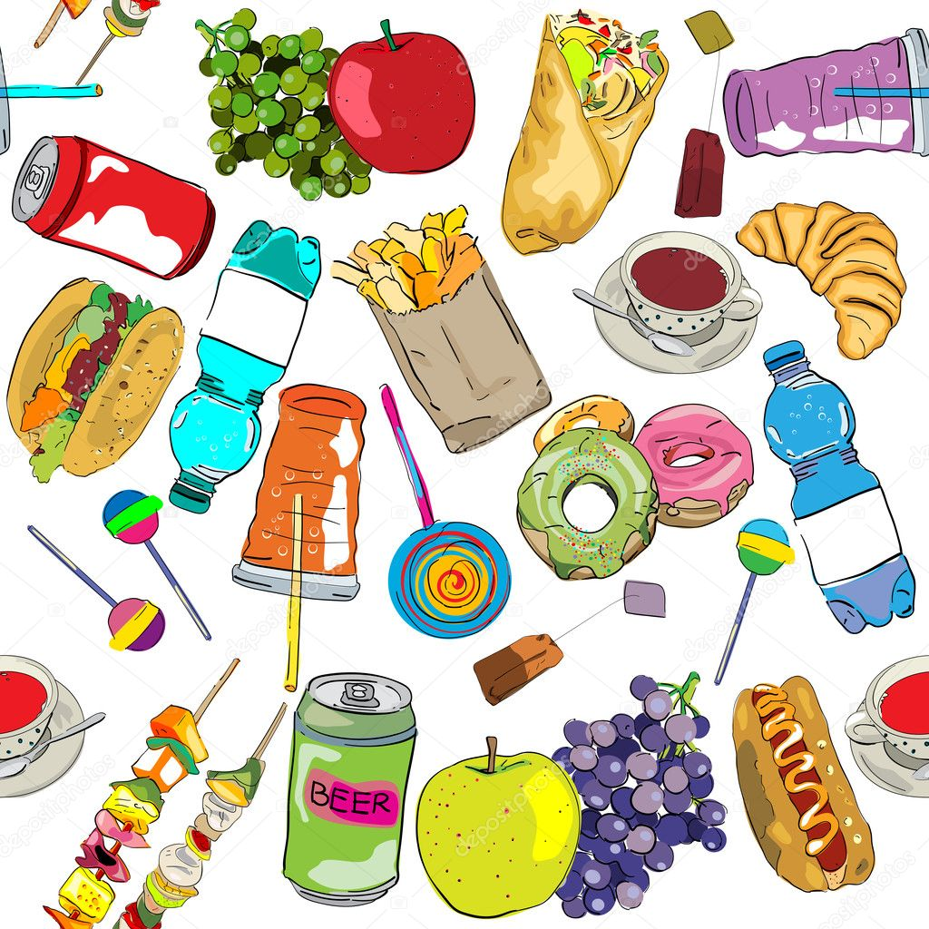 Hand drawn fast food elements pattern  Stock Photo #14657993