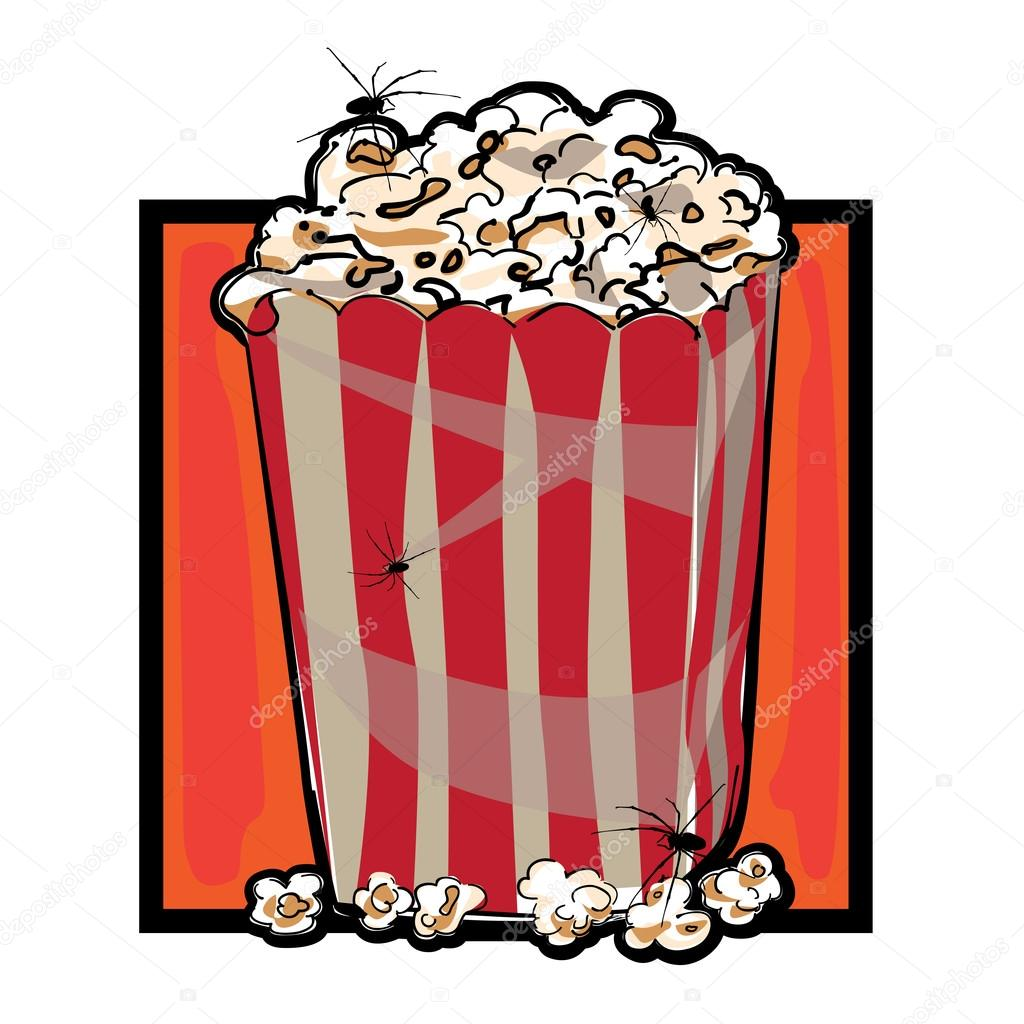 Hand drawn clip art illustration of a striped packaging with popcorn and spiders for Halloween  — Stock Photo #15692545