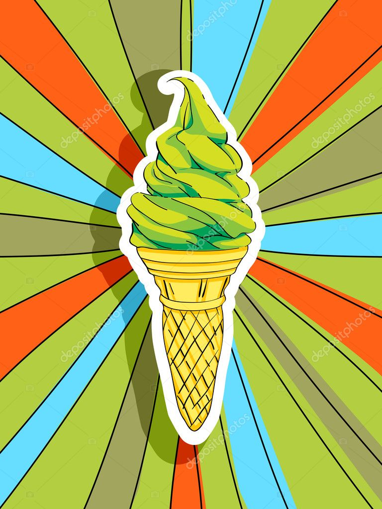 Pop art graphic background with a hand drawn illustration of an ice cream, food conceptual graphic — Stock Photo #15692593
