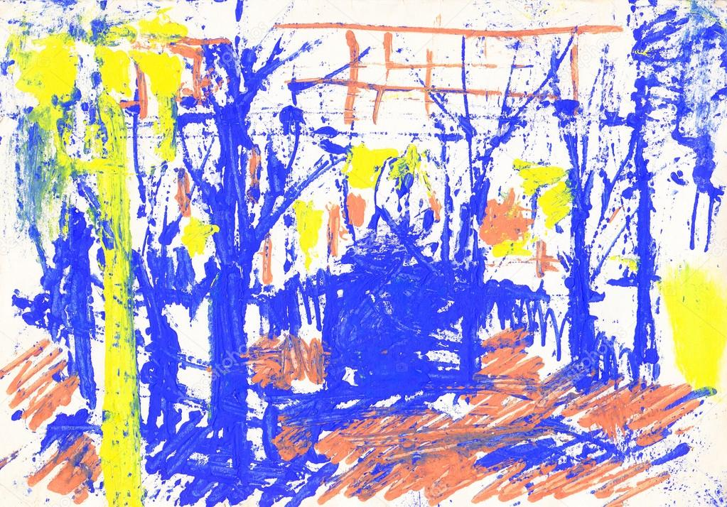 Bright colors landscape with trees, yellow and blue watercolors painting on white paper — Stock Photo #16205143