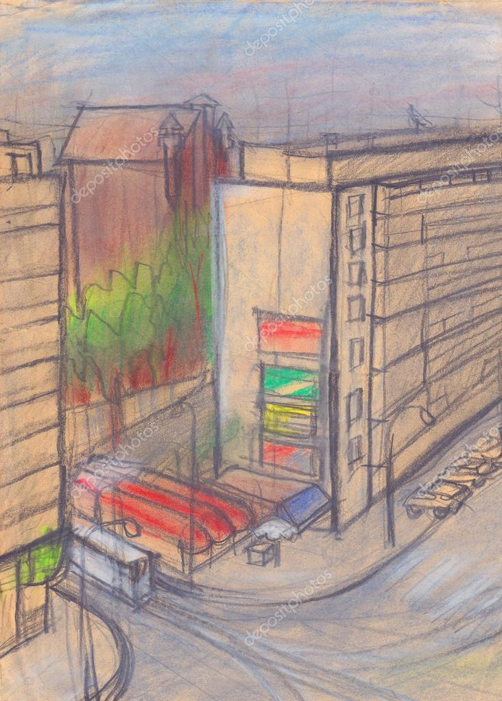 Urban view pastel drawing, colored sketch on beige paper — Stock Photo #16205169