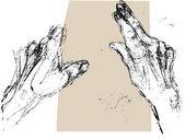 Hand rotation sketch — Stock Photo
