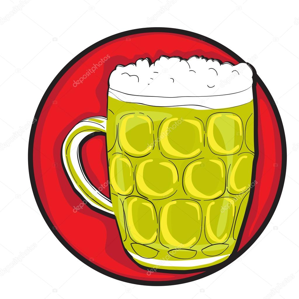 Hand drawn illustration of four Saint Patrick's Day beer pints, clovers and the Irish flag, doodles collection isolated on white — Stock Photo #16971169