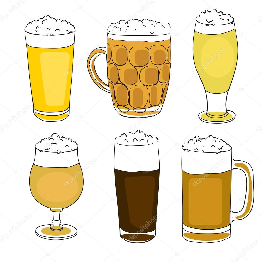 Hand drawn illustration of four Saint Patrick's Day beer pints, clovers and the Irish flag, doodles collection isolated on white  Stock Photo #16971189