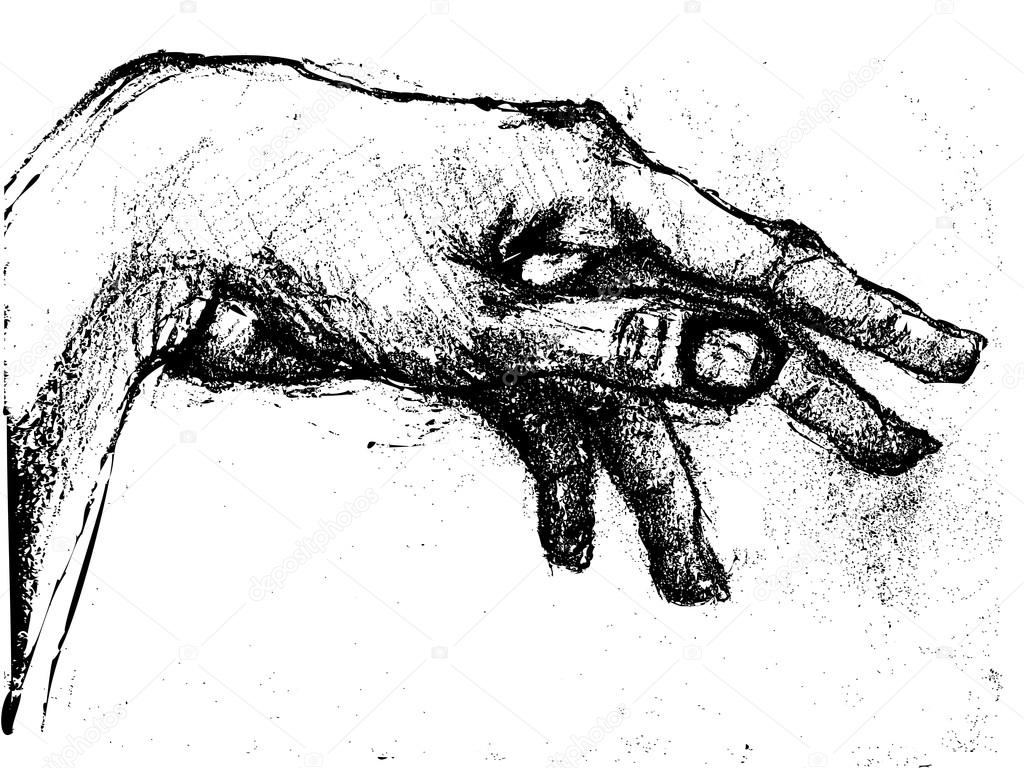 Graphic illustration of a hand rotation, charcoal sketch on grungy paper — Stock Photo #16971233