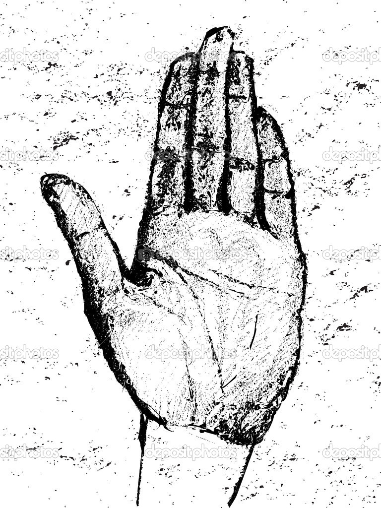 Graphic illustration of a hand rotation, charcoal sketch on grungy paper — Stock Photo #16971263