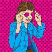 Dziewczyna z różowe okulary — Zdjęcie stockowe