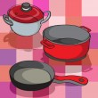 Stock Photo: Kitchen pans