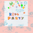 Kids party card — Foto de Stock