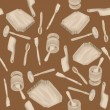 图库照片: Wooden kitchen tools pattern