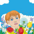 Spring card with kid — Foto de Stock