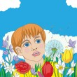 Spring card with kid - Stockfoto