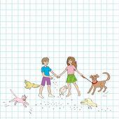 Kids and animals — Stock Photo