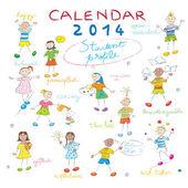 Kalendarz 2014 dzieci obejmuje — Zdjęcie stockowe