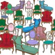Foto Stock: Antique chairs pattern