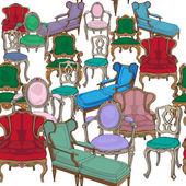 Antika sandalyeler desen — Stok fotoğraf