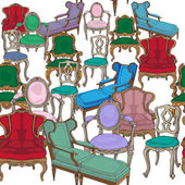 Antique chairs pattern — Stok fotoğraf