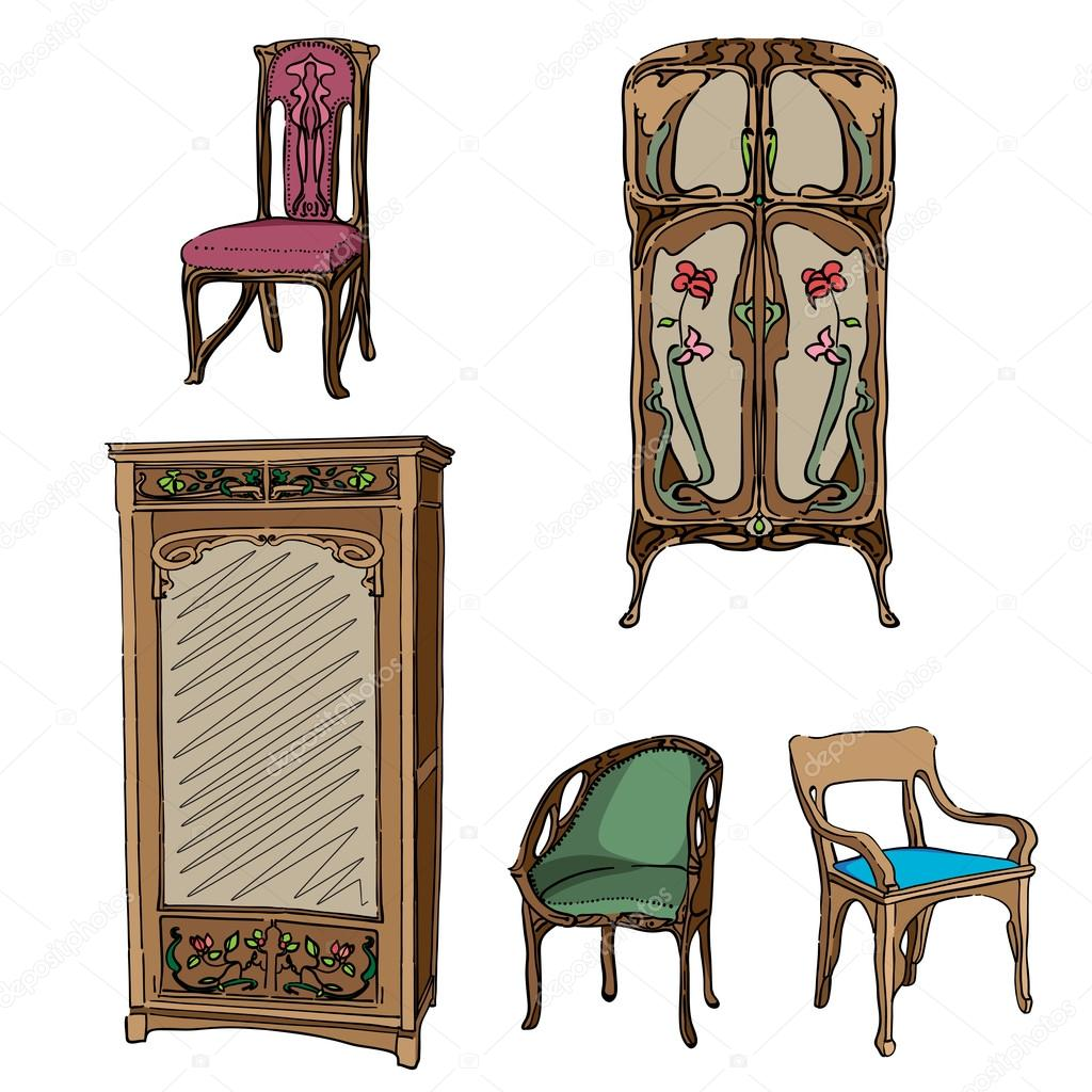 jugendstil m bel farbig stockfoto 27782547. Black Bedroom Furniture Sets. Home Design Ideas