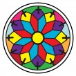 Stained glass rosette — Stockfoto