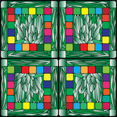 Stained glass plants background — Stock Photo