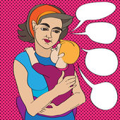 Pop art mom and baby — Stockfoto