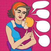 Popart moeder en baby — Stockfoto