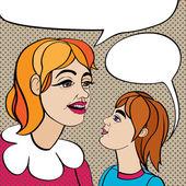 ポップアートのお母さんと子供 — ストック写真