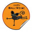 Stock Photo: Cat halloween sticker