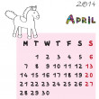 Horse calendar 2014 april — Stock fotografie #36192091