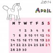 Horse calendar 2014 april — Stock Photo