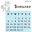Horse calendar 2014 january — Stock Photo