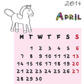 Horse calendar 2014 april — Stock fotografie
