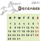Horse calendar 2014 december — Stock Photo