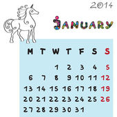 Horse calendar 2014 january — Stock fotografie