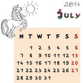 Horse calendar 2014 july — Stock Photo