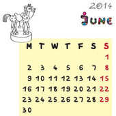 Horse calendar 2014 june — Stock Photo