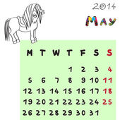 Horse calendar 2014 may — Stock Photo