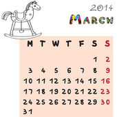 Horse calendar 2014 march — Stock Photo