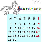 Horse calendar 2014 september — Stock Photo