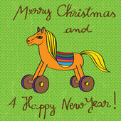 Toy horse greetings card — 图库照片