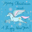 Flying horse year card — Stockfoto