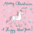 Horse year pink card — Stock Photo